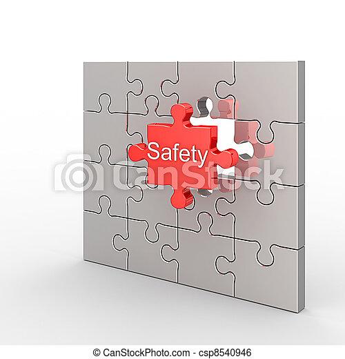 Quebra-cabeça, segurança - csp8540946