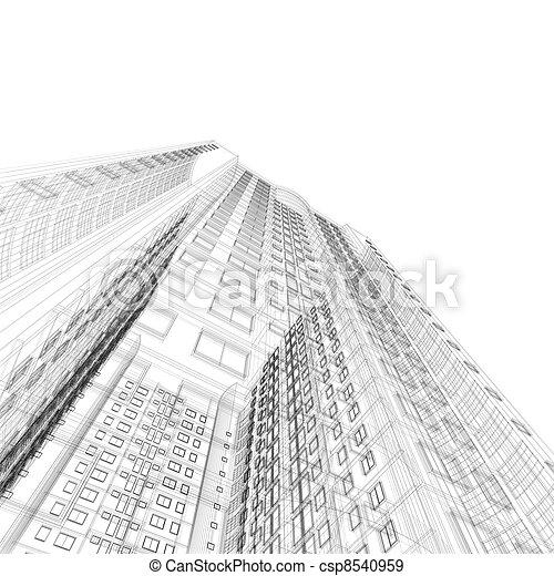 blåkopia, arkitektur - csp8540959