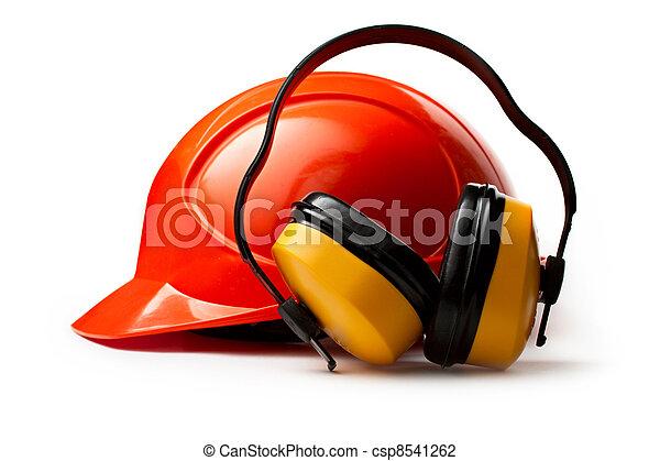 capacete, segurança, vermelho, fones ouvido - csp8541262
