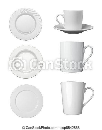 white cup, plate and dishes beverage drink food - csp8542868