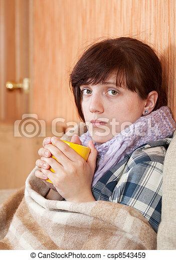 illness woman drinking tea  - csp8543459