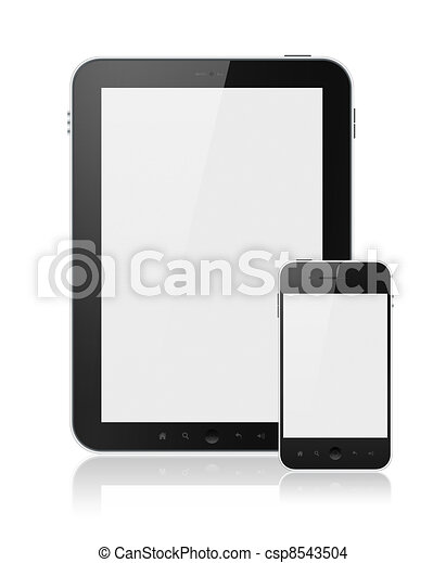 Digital Tablet PC With Mobile Smart Phone Isolated - csp8543504