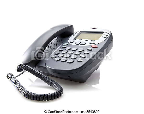 Gray office telephone isolated on a white background - csp8543890
