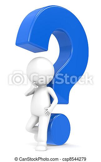 Blue question mark - csp8544279