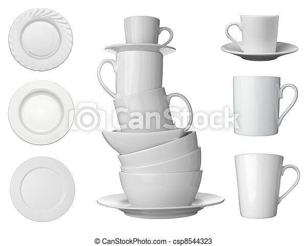 white cup, plate and dishes beverage drink food - csp8544323