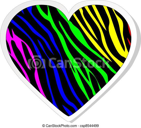 Rainbow zebra heart sticker - csp8544499