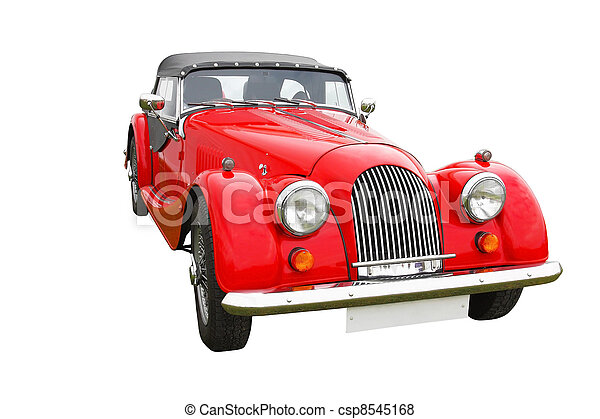 Red classic car isolated on white  - csp8545168