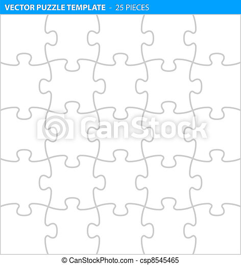 Complete puzzle / jigsaw template (25 pieces) - csp8545465