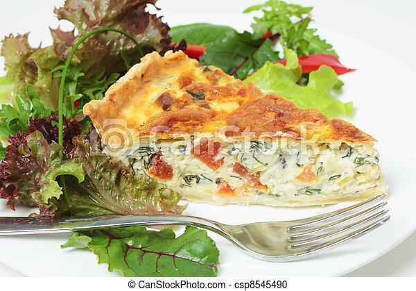 Quiche with salad horizontal - csp8545490