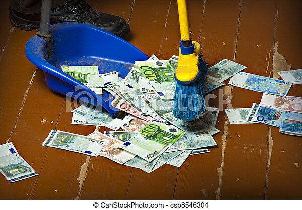 Sweeping euro money banknotes - csp8546304