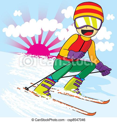 Teen Skiing Fast - csp8547046
