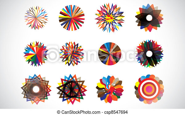 Colorful circular concentric geometric shapes - csp8547694