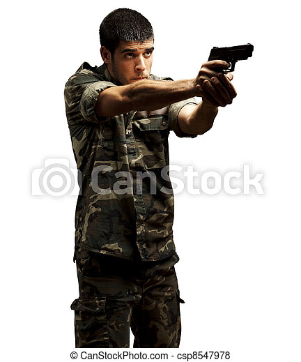 soldier aiming - csp8547978