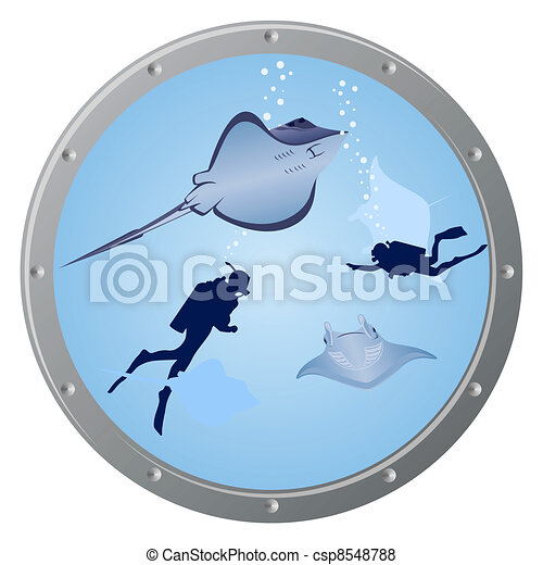 Divers and stingrays - csp8548788