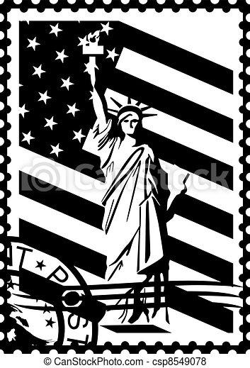 Postage Stamp Clip Art Black And White Stock Illustration of ...