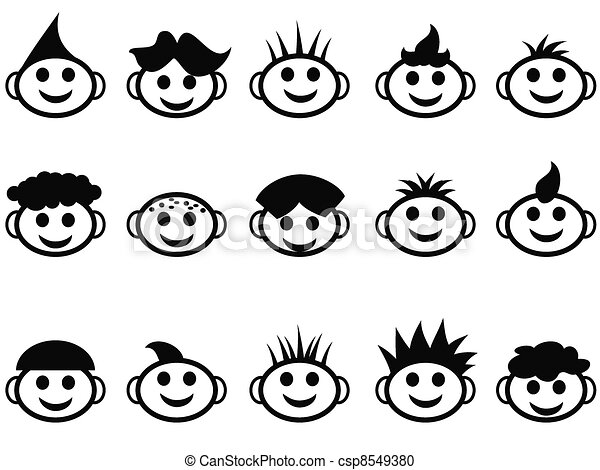 cartoon kids face with hair style icons - csp8549380