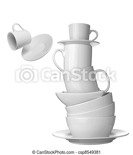 white cup, plate and dishes beverage drink food - csp8549381