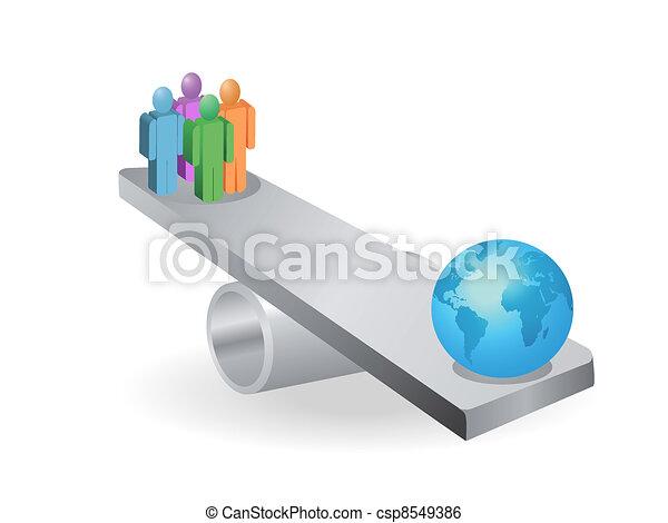 people balance with earth - csp8549386