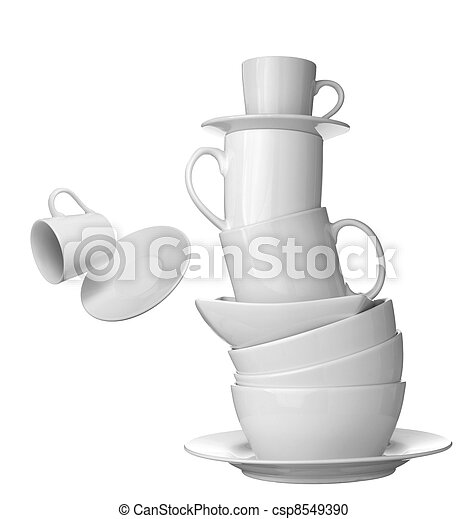 white cup, plate and dishes beverage drink food - csp8549390
