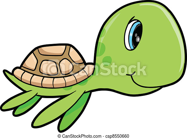 Cute Happy Summer Sea Turtle Animal - csp8550660