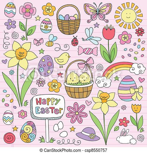 Easter Spring Flower Doodles Vector - csp8550757