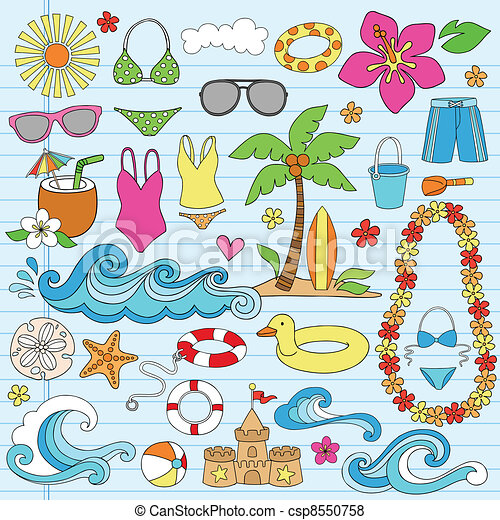 Summer Beach Hawaiian Doodles - csp8550758