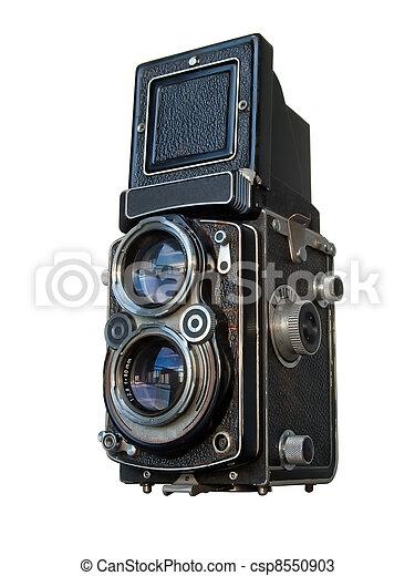 Old black Twin lens reflex camera - csp8550903