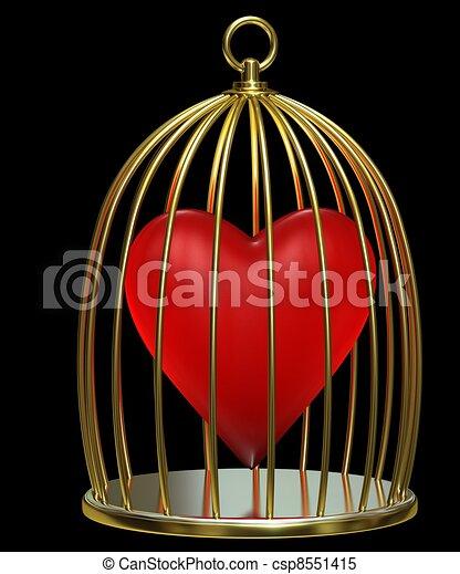 Heart in golden cage - csp8551415