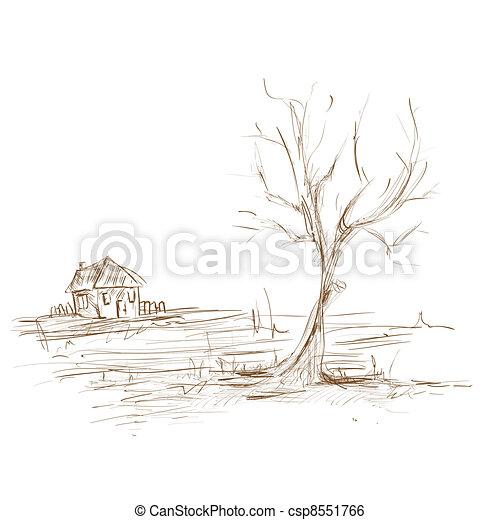 Clipart vettoriali di mano disegnare schizzo paesaggio for Schizzo di piani di casa gratuiti