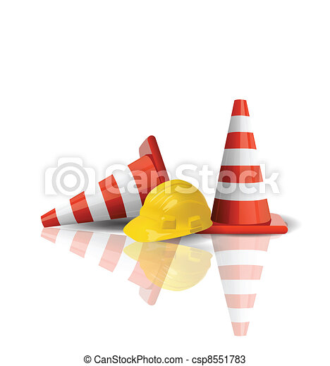 Hard cap with traffic cones isolated - csp8551783