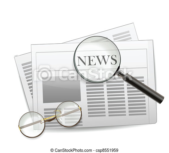 Newspaper with magnifying glass - csp8551959