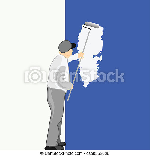 Man Painting a Blue Wall  Illustration - csp8552086