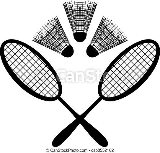 Equipment for the badminton, silhouette - csp8552162