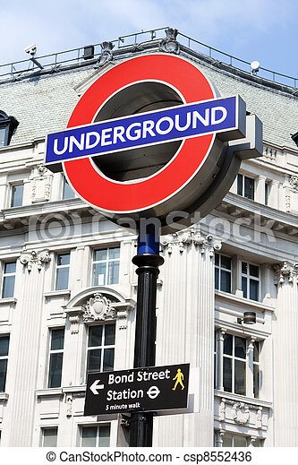 Bond street underground sign, London - csp8552436
