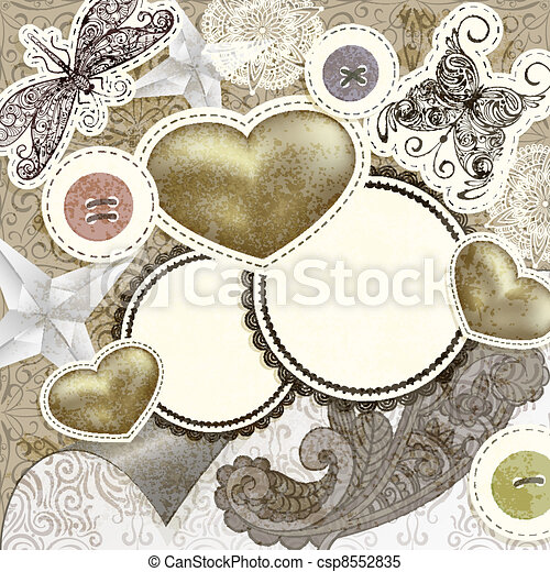 vector vintage scrap template design with hearts, for valentine's day, clipping mask, elements can be used separately - csp8552835
