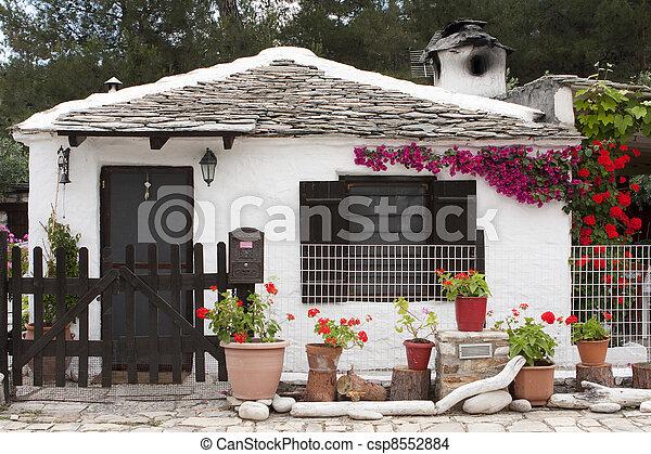 Photo De Petit Traditionnel Grec Maison Thassos Le