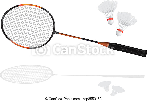badminton racket and shuttlecock - csp8553169