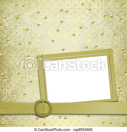 Abstract ancient background in scrapbooking style with gold ornament - csp8553465