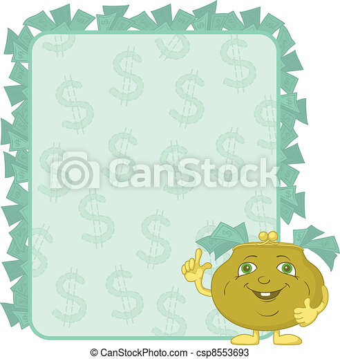 Purse and poster with dollars - csp8553693