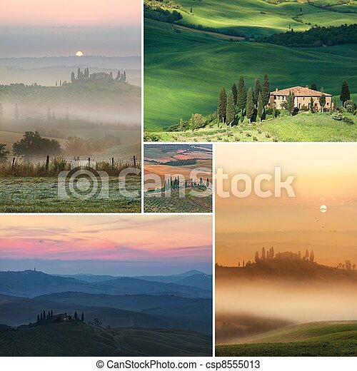 Collage Scenic view of typical Tuscany - csp8555013