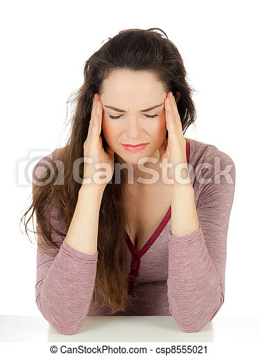 Beautiful woman suffering from headache - csp8555021