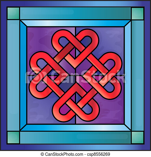 Stained glass Celtic hearts - csp8556269