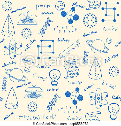 Hand Drawn Seamless Science Icons - csp8556972