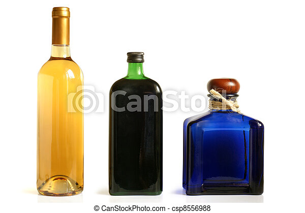 Bottles of alcoholic drinks - csp8556988