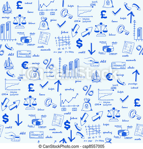 Hand Drawn Seamless Finance Icons - csp8557005