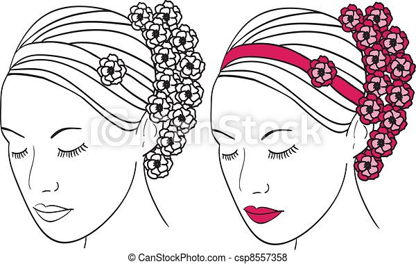 Woman with flowers in hair - csp8557358