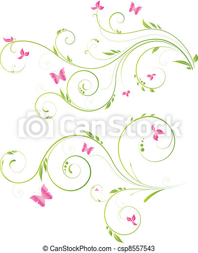 Floral design with pink flowers - csp8557543