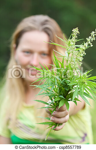 Woman holds  cannabis - csp8557789