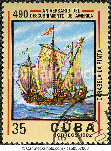 CUBA - CIRCA 1982: A stamp printed in Cuba shows carvel Pinta, devoted Discovery of America, 490th anniversary, series, circa 1982 - csp8557803