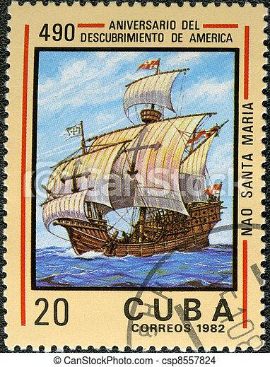 CUBA - CIRCA 1982: A stamp printed in Cuba shows ship Santa Maria, devoted Discovery of America, 490th anniversary, series, circa 1982 - csp8557824